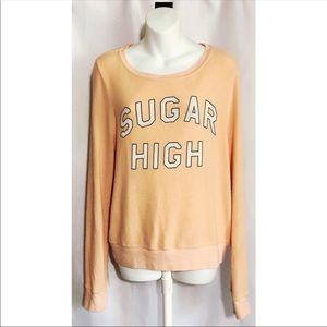 Wildfox Sugar High Baggy Beach Sweatshirt Peach Sm
